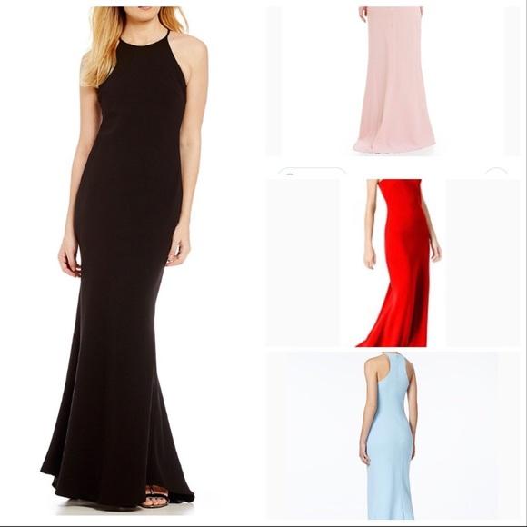 Calvin Klein Dresses Dress Crepe Halter Gown Poshmark
